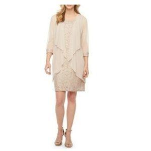 R & M Richards Beaded-Neck Glitter Lace 2pc Dress